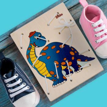 Allacciatura Dinosauro - gioco dei lacci - telai allacciature Montessori - Dida