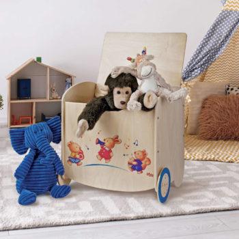 Pouf portagiochi in legno - contenitore per la cameretta dei bimbi - Dida