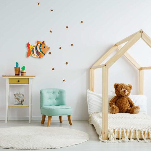 Orologio cameretta bambini - Pesce - Orologio parete in legno - Dida
