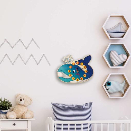Orologio da parete bambini -Balena - decorazione da parete in legno - Dida