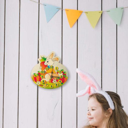 Orologio cameretta - Coniglio - decorazioni legno parete bambini - Dida