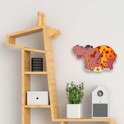 orologio parete ippopotamo