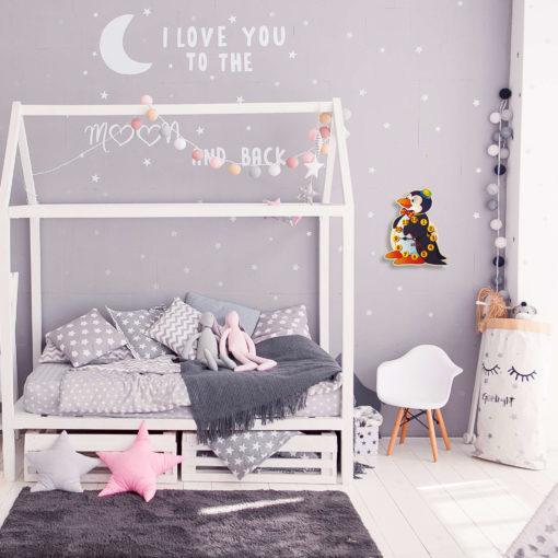 Orologio da camera per bambini-Orologio da parete in legno Pinguino-Dida
