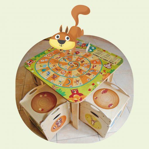 Tavolo gioco bambino in legno - Rivisitazione del gioco dell'oca - Dida