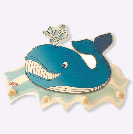 Attaccapanni da parete per la cameretta – Balena