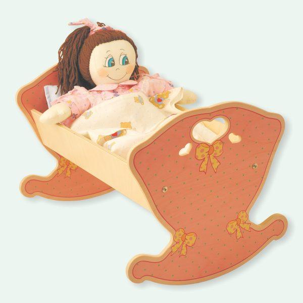 Culla a dondolo Rosa con materassino+ lenzuolino