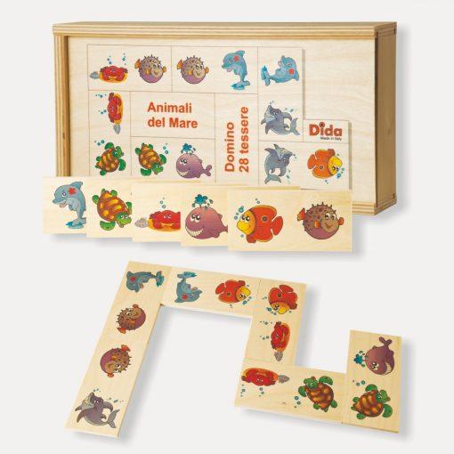 Domino in legno Animali del mare gioco di società in scatola - Dida