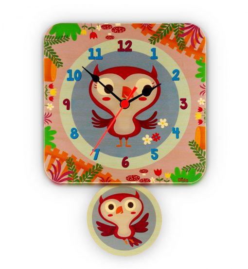Orologio pendolo gufetti per la cameretta dei bambini-Dida