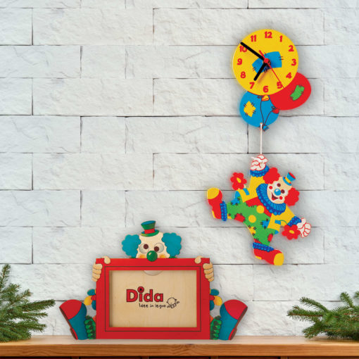 Portafoto in legno Clown-orologio Clown con palloncini-Dida