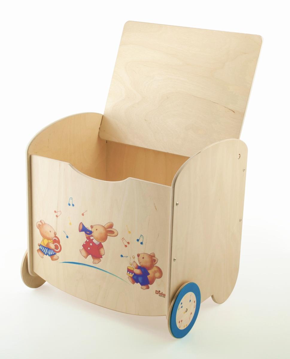 Pouf portagiochi in legno contenitore per la cameretta for Mobili portagiochi per bambini