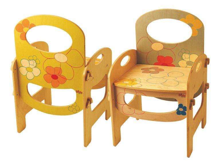 Sedia bambini legno – Decoro Fiori