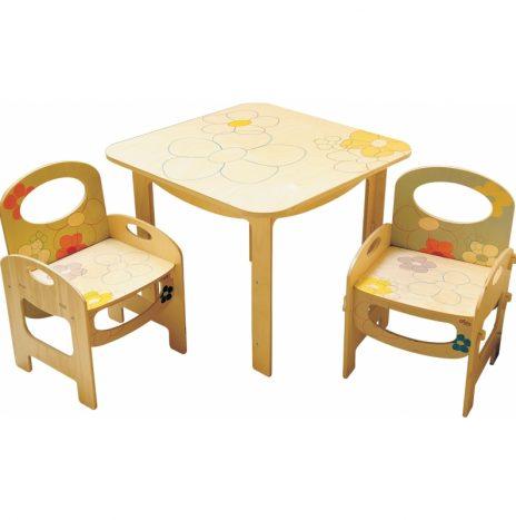 Tavolo in legno per bambini decoro Fiori