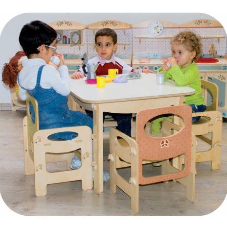Tavolo per bambini in 4 colori pastello con piano antigraffio