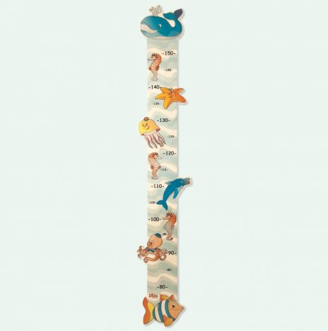 Metro crescita da parete in legno con animali marini