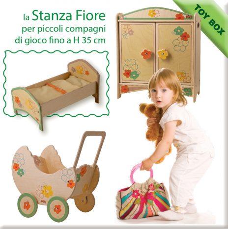 stanza delle bambole decoro fiore con carrozzina