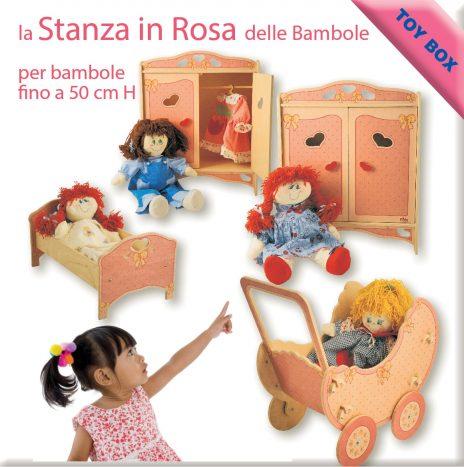 la stanza delle bambole in rosa con carrozzina