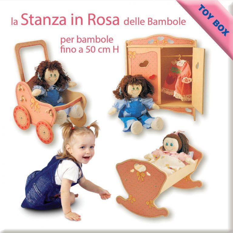 la stanza delle bambole in rosa con passeggino