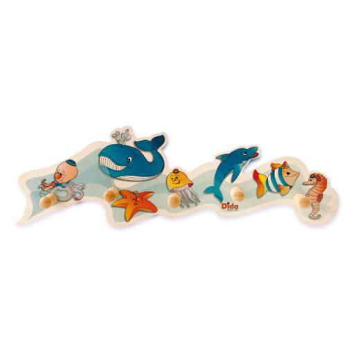 Appendiabiti bambino-animali marini- attaccapanni da parete in legno- Dida