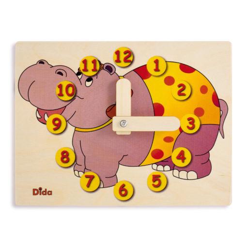 Orologio didattico Ippopotamo imparare le ore - metodo Montessori - Dida