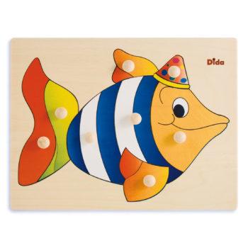 Puzzle in legno Pesce, 8 tessere con pomelli - Dida