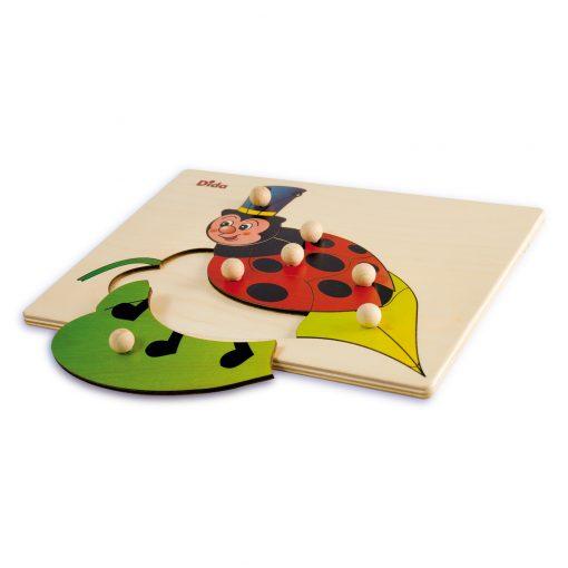 Puzzle in legno coccinella, 7 tessere con pomelli - Gioco di pazienza, concentrazione, e osservazione - Dida