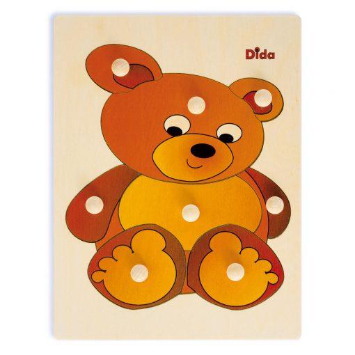 Puzzle in legno Orso, 8 tessere con pomello - Dida