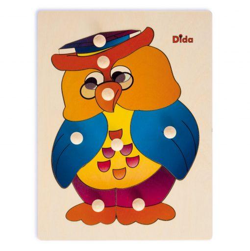 Puzzle in legno Gufo, 8 tessere con pomelli - Gioco di pazienza, concentrazione, e osservazione - Dida