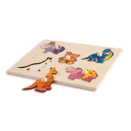 Puzzle Incastro Animali Terrestri - rompicapo in legno con pomelli - Dida