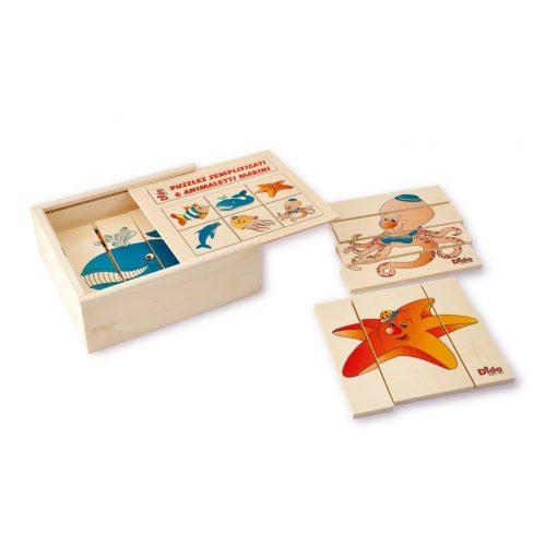 Puzzle semplice per bambini -animali marini -puzzle facili per i piccoli -Dida