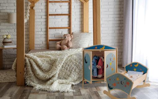 Armadio delle bambole Luna- giochi di imitazione in legno - Dida