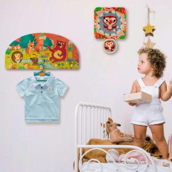 Appendiabiti cameretta bambini in legno da parete-Animali del bosco-Dida
