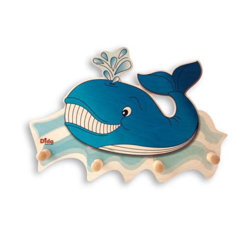 Attaccapanni da parete per la cameretta – La grande balena blu - Dida
