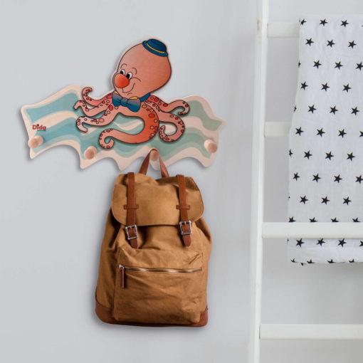 Attaccapanni da muro bambini - Polpo