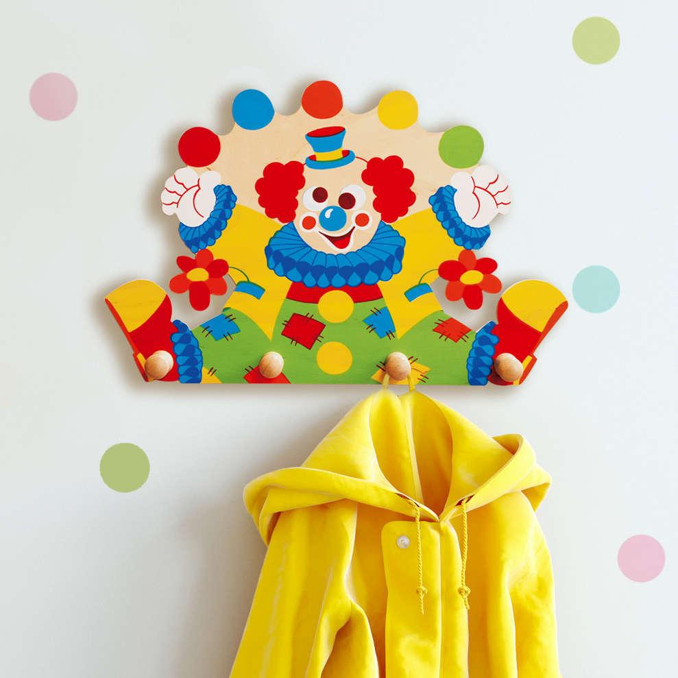 Attaccapanni Bambini.Appendiabiti Legno Per Bambini Clown