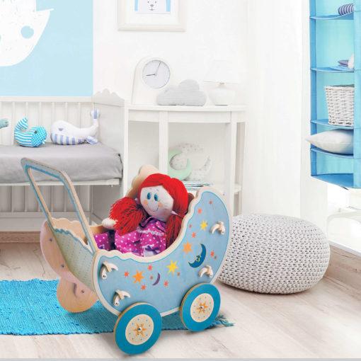 """Carrozzina in legno per bambole """"Luna""""- gioco simbolico per bambini -Dida"""