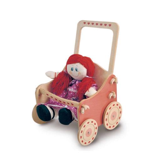 """Passeggino per bambole in legno """"Natura"""" è un gioco di imitazione - Dida"""