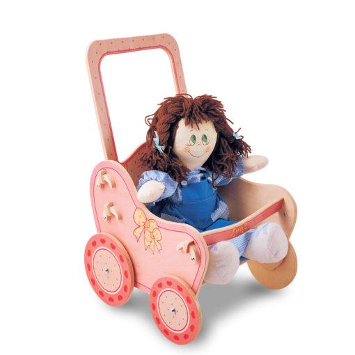 Passeggino di legno Rosa - giochi con le bambole per bambini - Dida