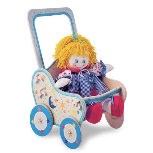 """Passeggino in legno per bambole """"Luna""""- gioco simbolico, di finzione- Dida"""
