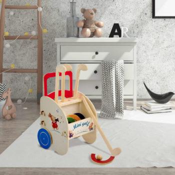 Minigolf in legno per giochi di movimento - carrellino gioco - Dida