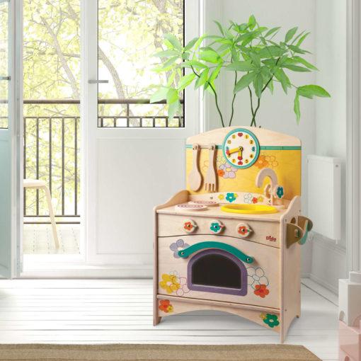 Trio cucina giocattolo in legno Fiori gioco di imitazione - bimbi 2 anni - Dida