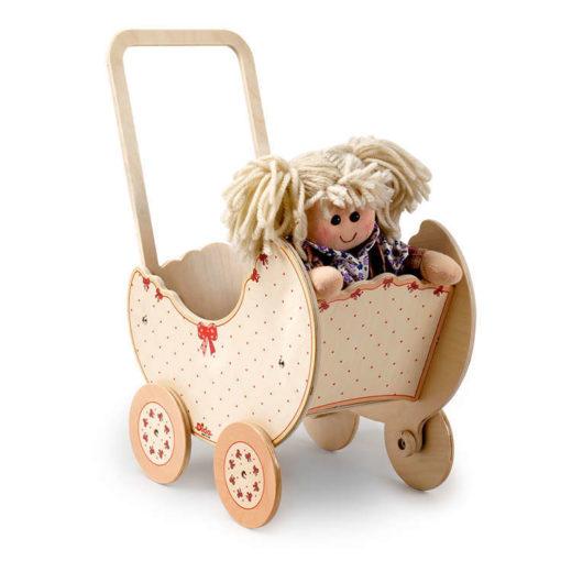 Carrozzina giocattolo legno Fiocco per bambole e giochi simbolici - Dida