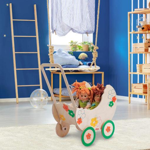 Carrozzina giocattolo in legno Fiore per bambole e bambini dai 2 anni-Dida