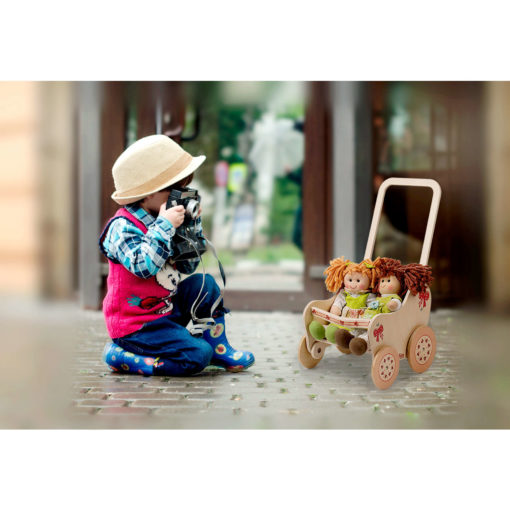 Passeggino in legno per le bambole- giochi simbolici e di imitazione - Dida