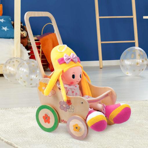 Passeggino gioco in legno per bambole decoro Fiori -gioco simbilico -Dida