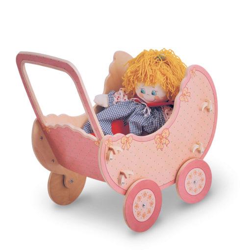 Carrozzina di legno per bambole -gioco di finzione per bambini 2 anni-Dida