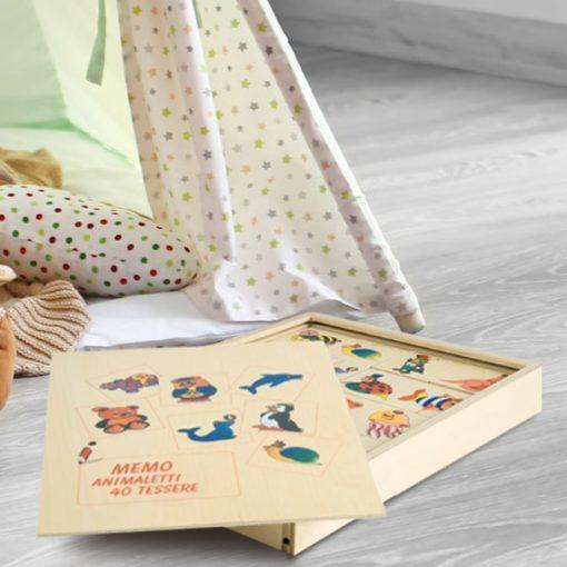 Memo Animaletti 40 tessere in legno - gioco di memoria per bambini - Dida