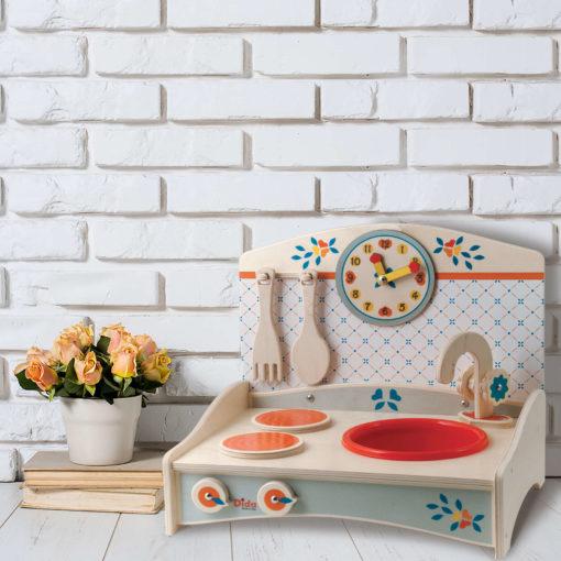 Mini Cucina giocattolo di legno in Azzurro per giocare a cucinare - Dida