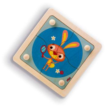 Puzzle Coniglio in legno, 4 grandi tessere con pomello per bambini - Dida