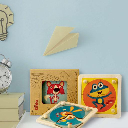 Animaletti del bosco - Mini Puzzle in legno, 4 grandi tessere con pomello per bambini - Dida