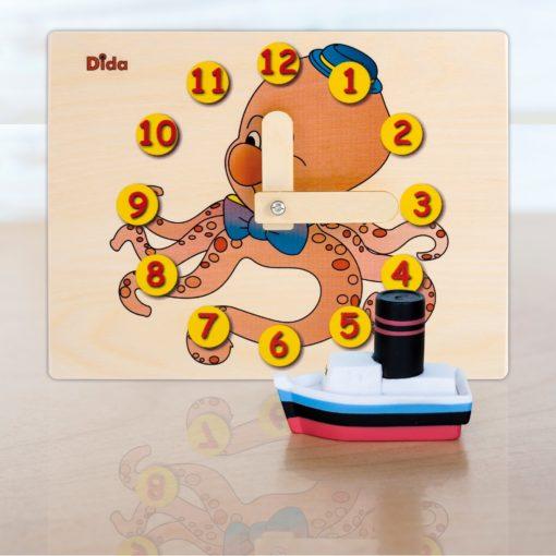 Orologio didattico Polpo - orologio di apprendimento con lancette - Dida